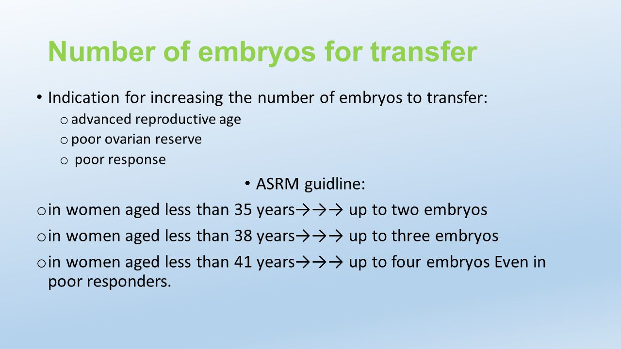 Number of embryos for transfer
