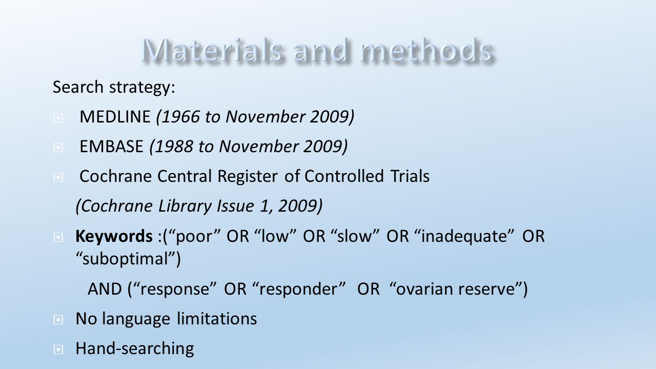 Search strategy: MEDLINE (1966 to November 2009) EMBASE (1988 to November 2009) Cochrane Central Register of Controlled Trials.