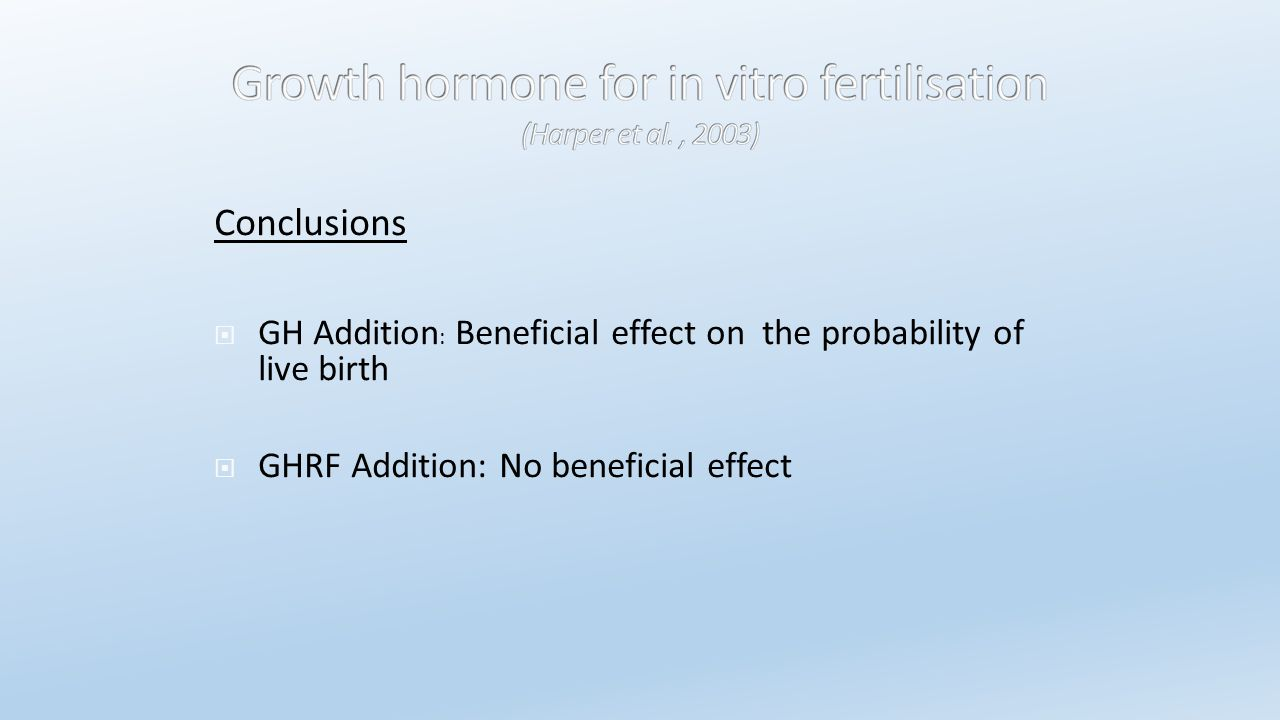 Conclusions GH Addition: Beneficial effect on the probability of live birth.