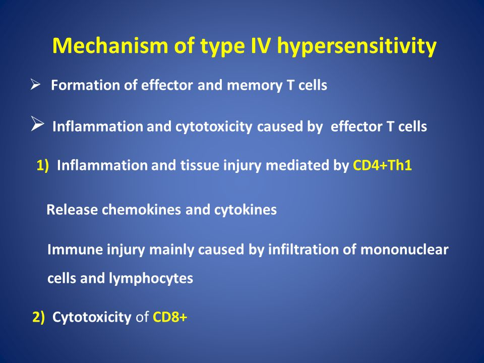 Mechanism of type IV hypersensitivity