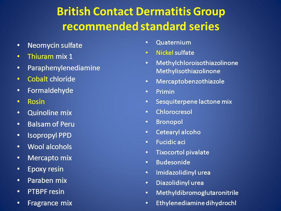 British Contact Dermatitis Group recommended standard series