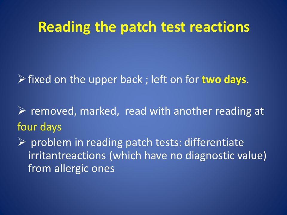 Reading the patch test reactions