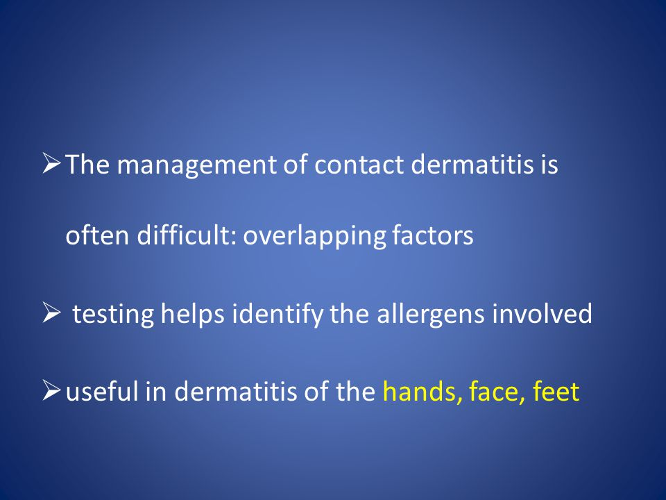 The management of contact dermatitis is often difficult: overlapping factors