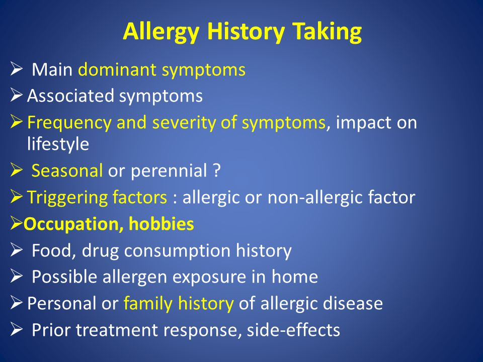 Allergy History Taking