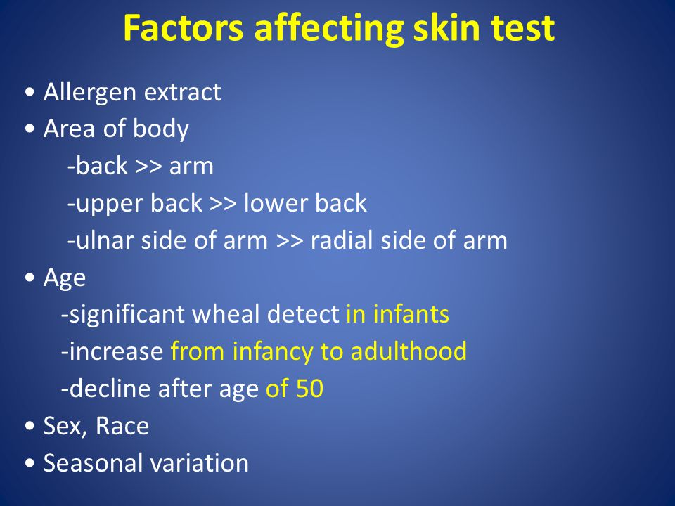 Factors affecting skin test