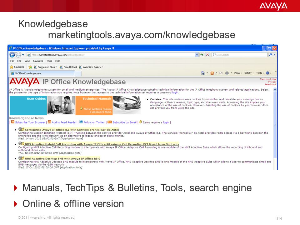 Knowledgebase marketingtools.avaya.com/knowledgebase