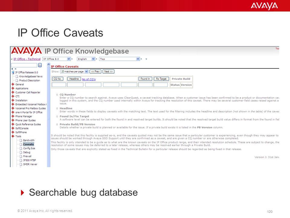 IP Office Caveats Searchable bug database