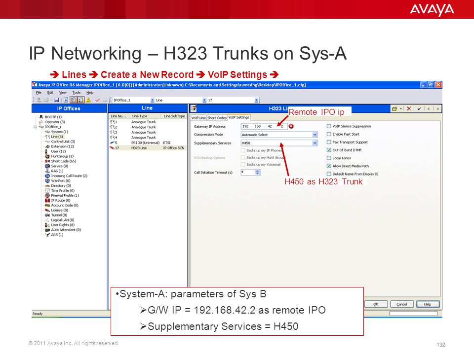 IP Networking – H323 Trunks on Sys-A