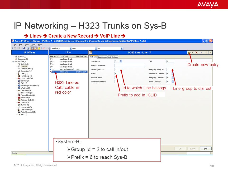 IP Networking – H323 Trunks on Sys-B