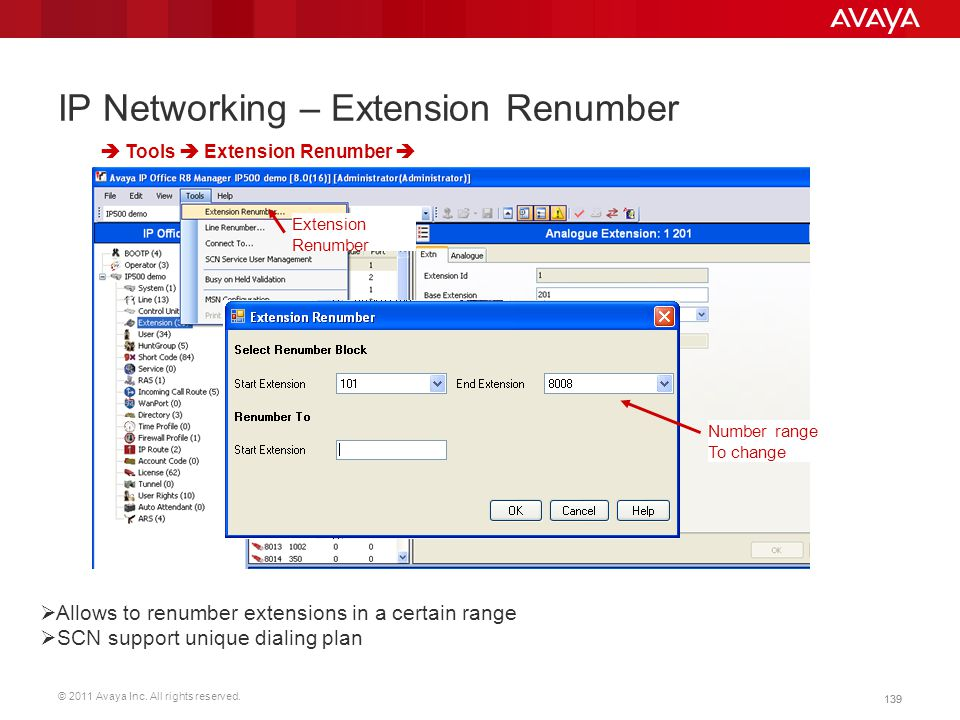 IP Networking – Extension Renumber
