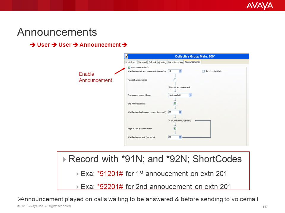 Announcements Record with *91N; and *92N; ShortCodes
