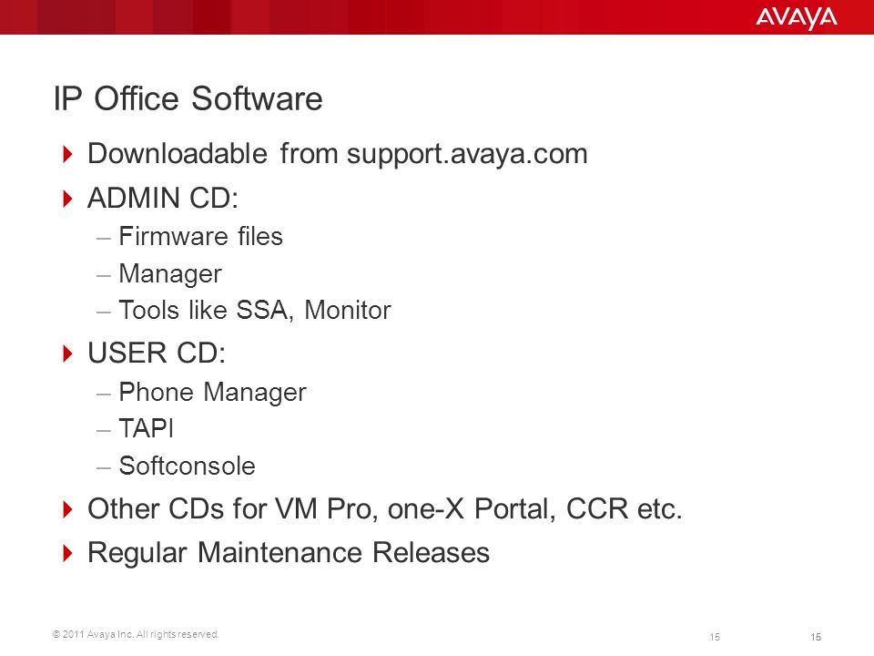 IP Office Software Downloadable from support.avaya.com ADMIN CD: