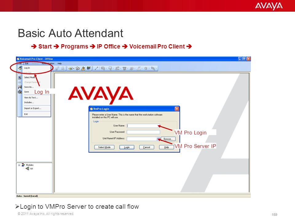 Basic Auto Attendant Login to VMPro Server to create call flow