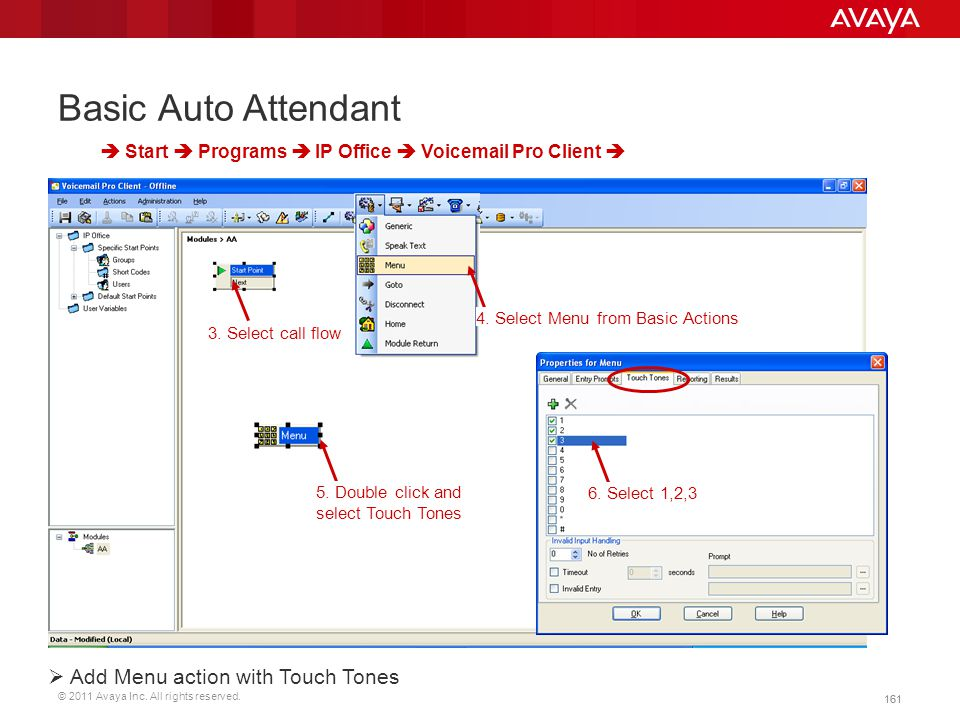 Basic Auto Attendant Add Menu action with Touch Tones
