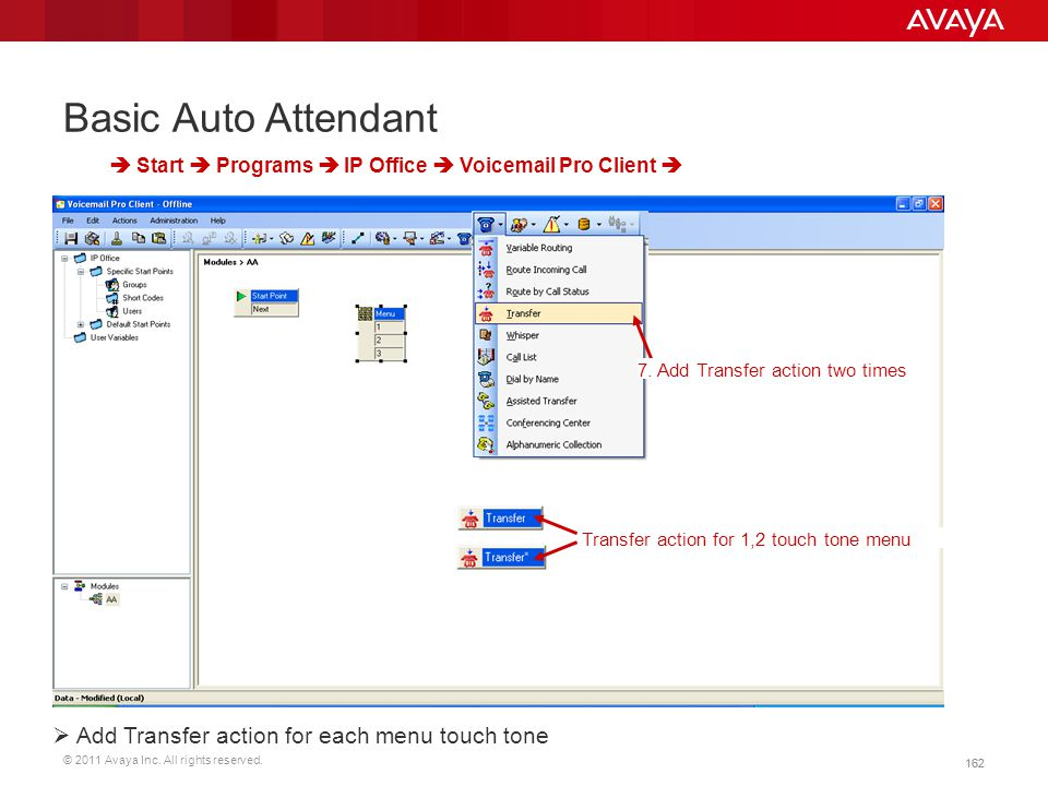 Basic Auto Attendant Add Transfer action for each menu touch tone