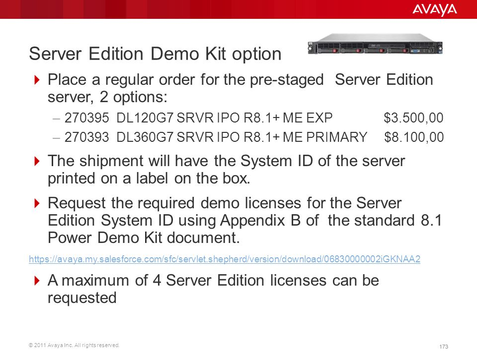 Server Edition Demo Kit option