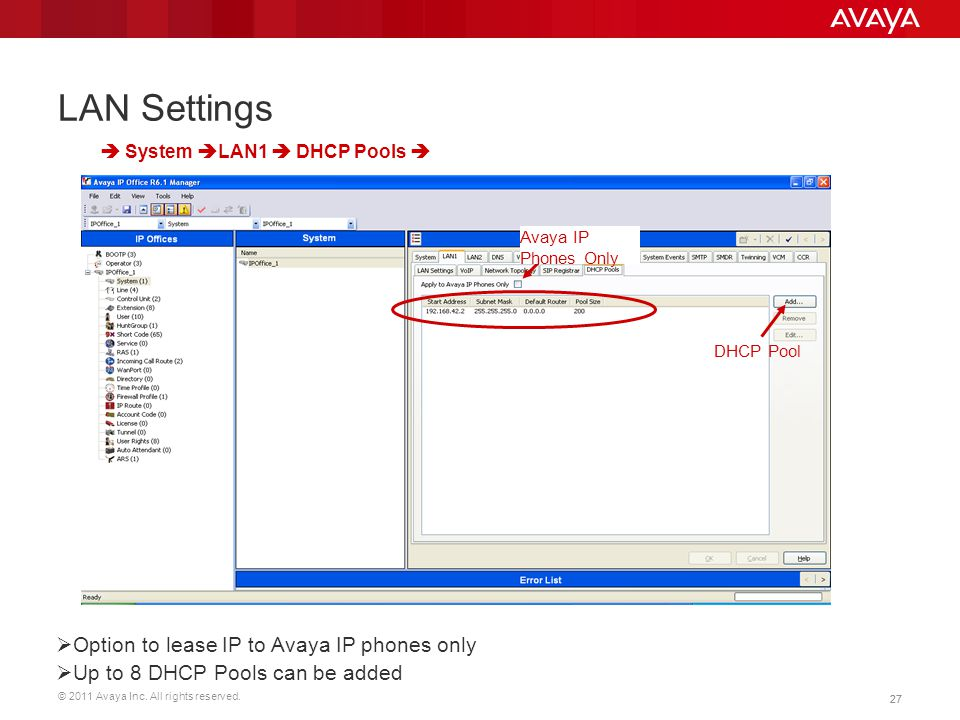 LAN Settings Option to lease IP to Avaya IP phones only