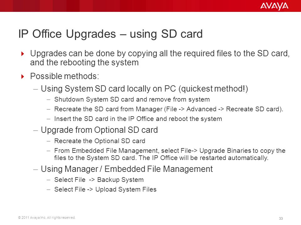 IP Office Upgrades – using SD card