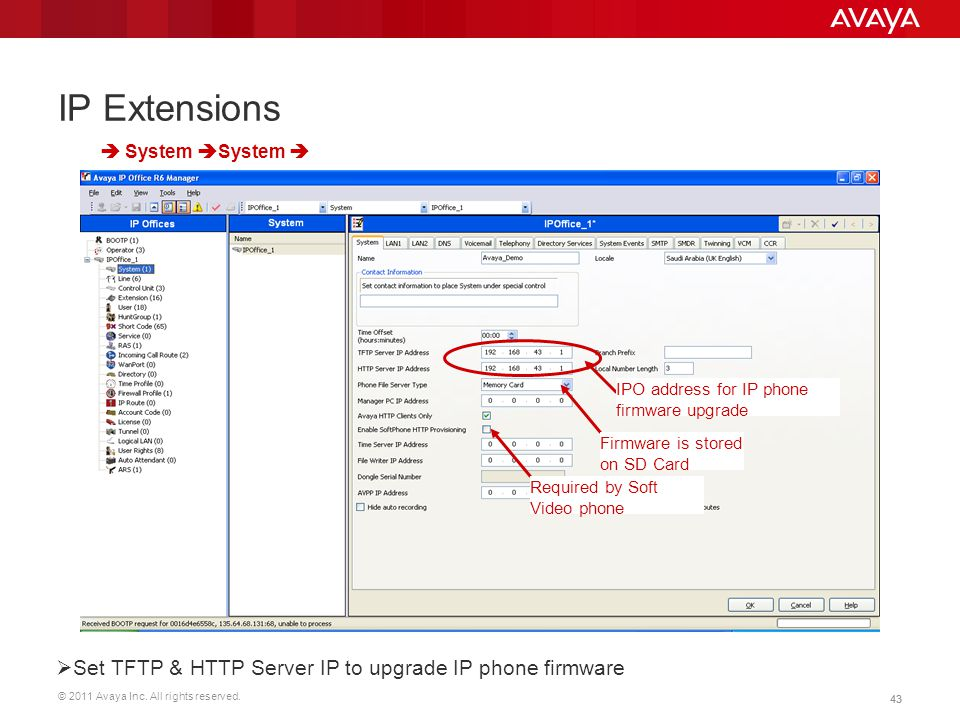 IP Extensions Set TFTP & HTTP Server IP to upgrade IP phone firmware