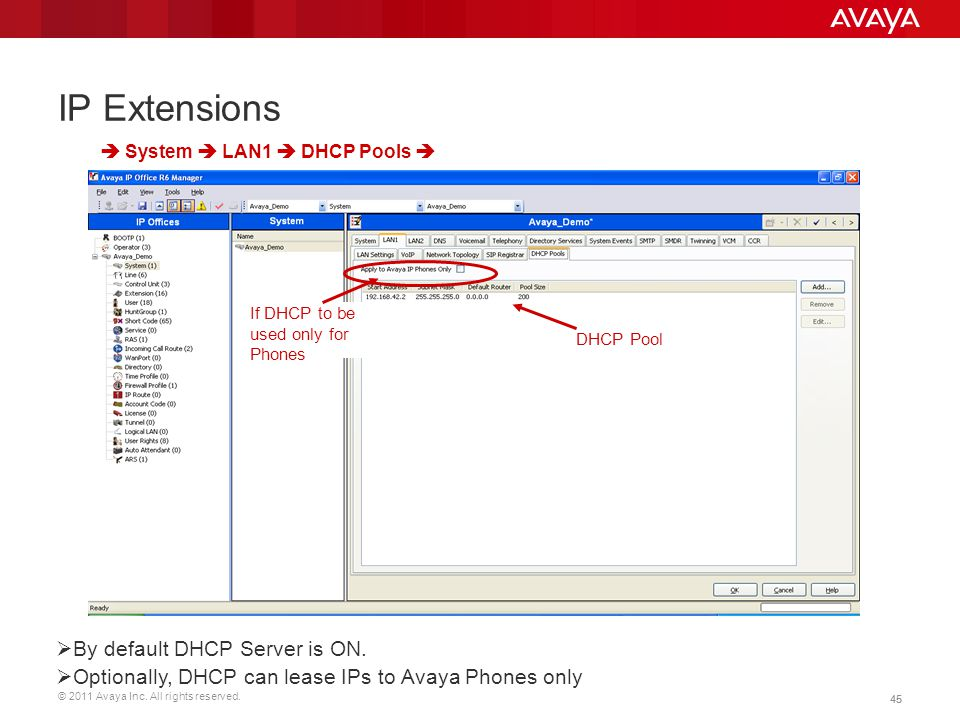 IP Extensions By default DHCP Server is ON.