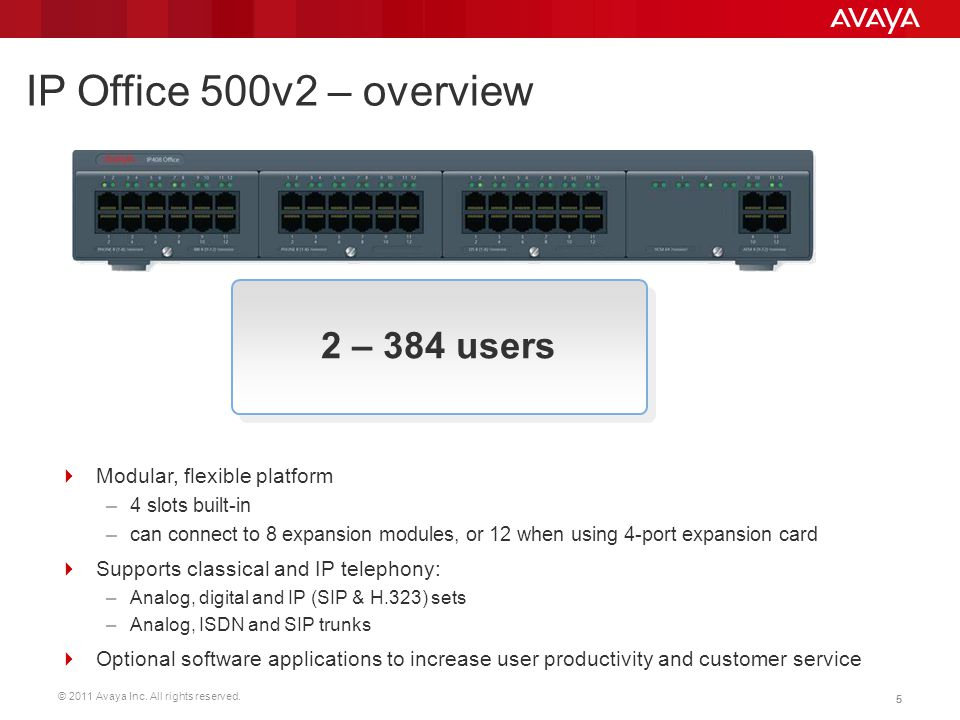 IP Office 500v2 – overview 2 – 384 users Modular, flexible platform