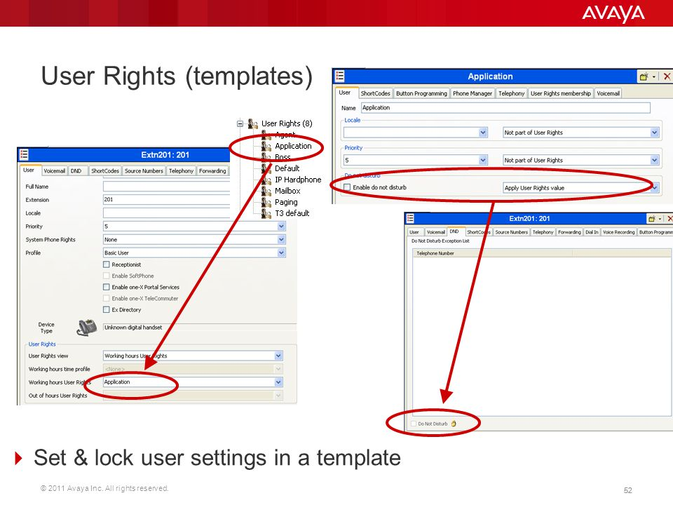 User Rights (templates)