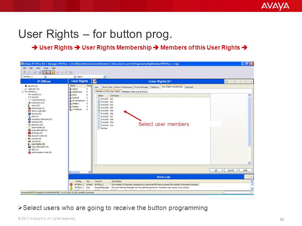 User Rights – for button prog.