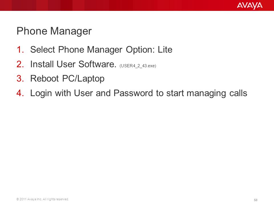 Phone Manager Select Phone Manager Option: Lite