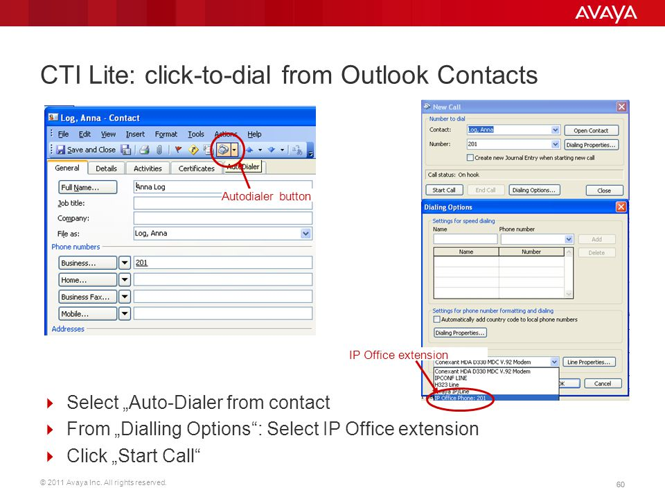 CTI Lite: click-to-dial from Outlook Contacts