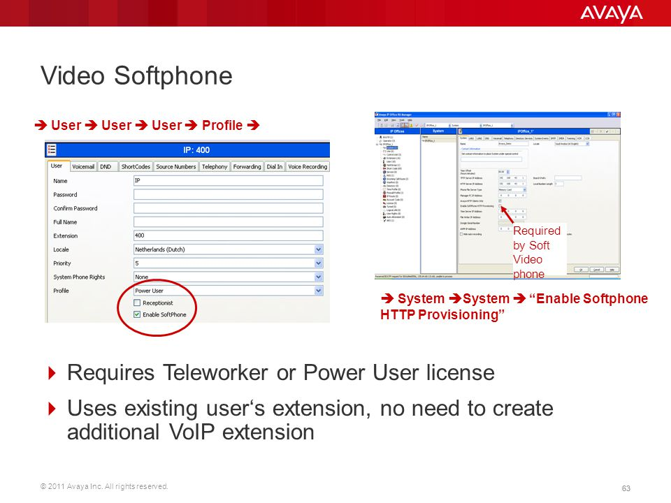 Video Softphone Requires Teleworker or Power User license