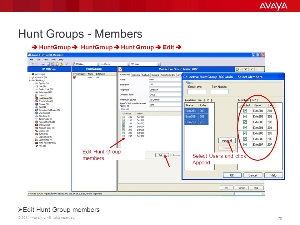 Hunt Groups - Members Edit Hunt Group members