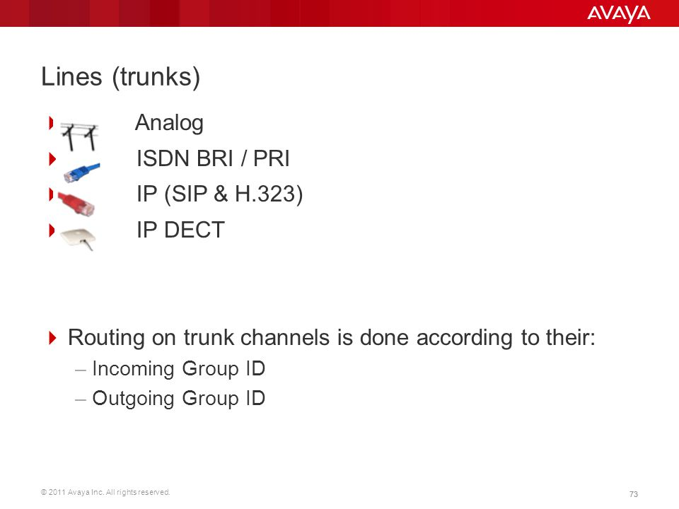 Lines (trunks) Analog ISDN BRI / PRI IP (SIP & H.323) IP DECT