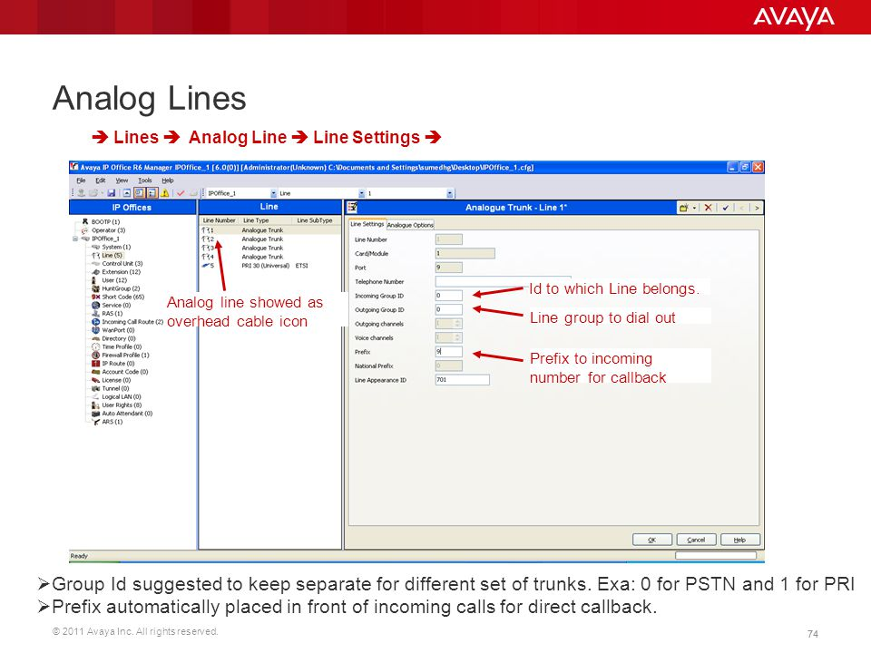 Analog Lines  Lines  Analog Line  Line Settings  Id to which Line belongs. Analog line showed as overhead cable icon.