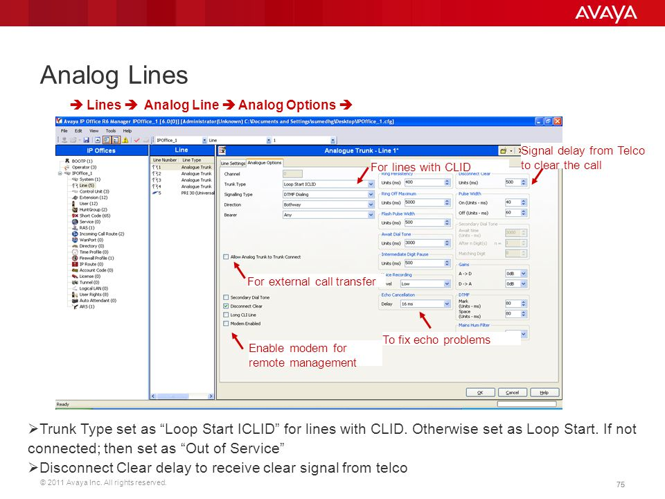 Analog Lines  Lines  Analog Line  Analog Options  Signal delay from Telco to clear the call. For lines with CLID.
