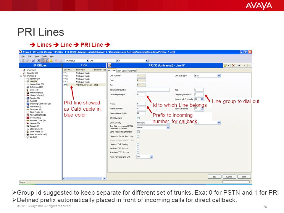 PRI Lines  Lines  Line  PRI Line  PRI line showed as Cat5 cable in blue color. Line group to dial out.