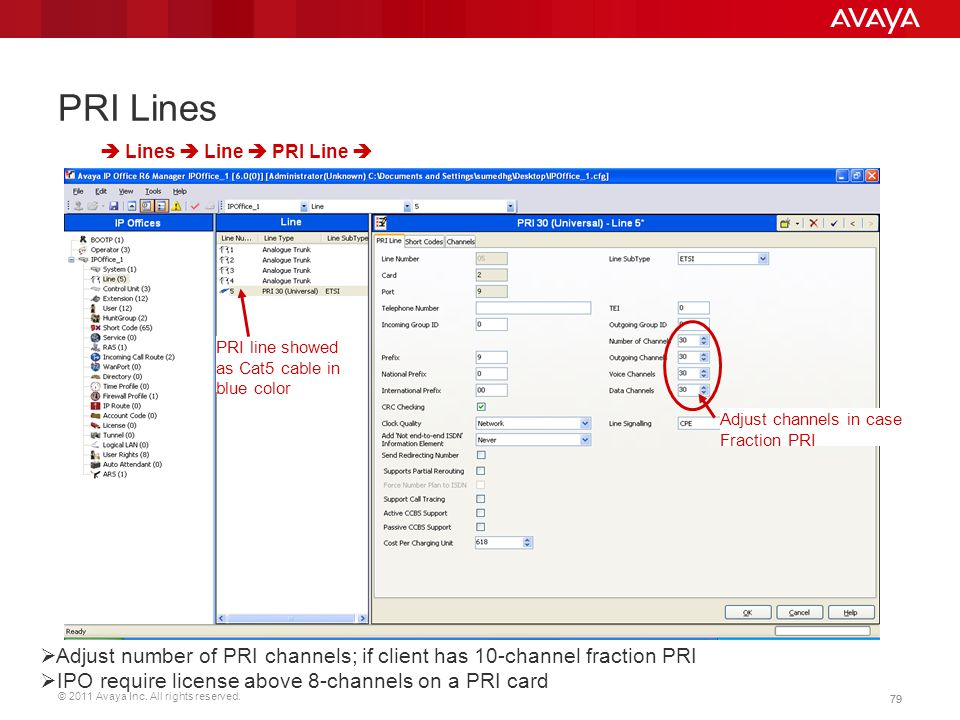 PRI Lines  Lines  Line  PRI Line  PRI line showed as Cat5 cable in blue color. Adjust channels in case Fraction PRI.