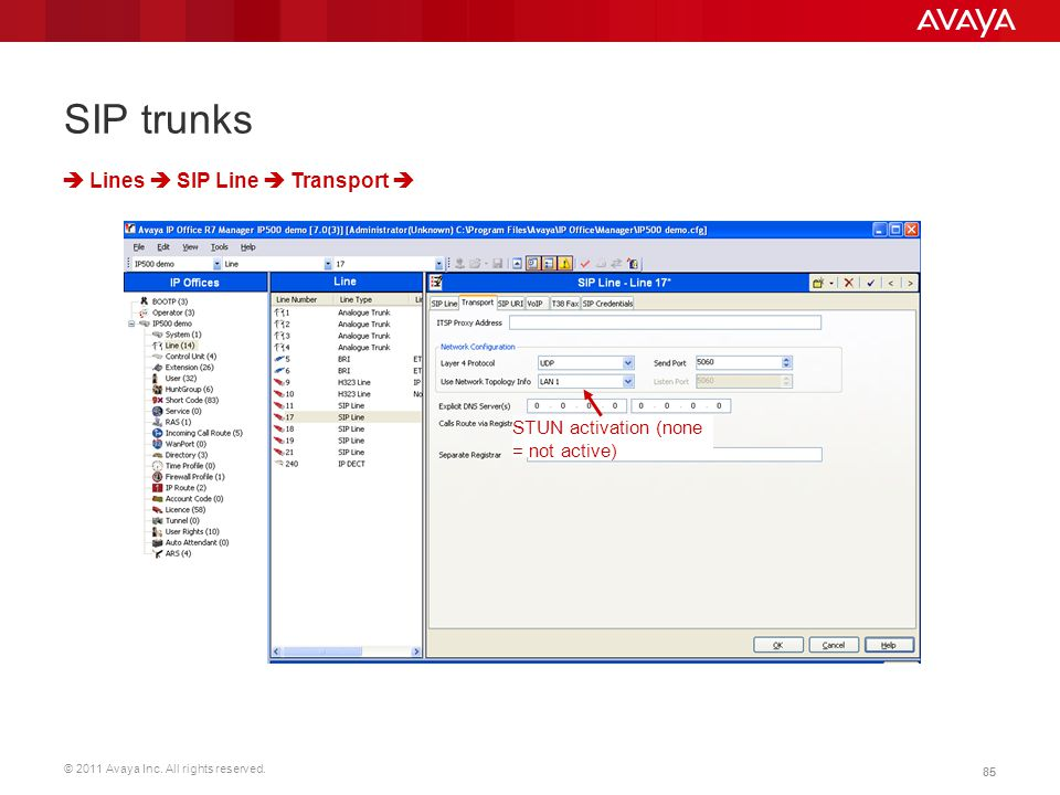 SIP trunks  Lines  SIP Line  Transport 