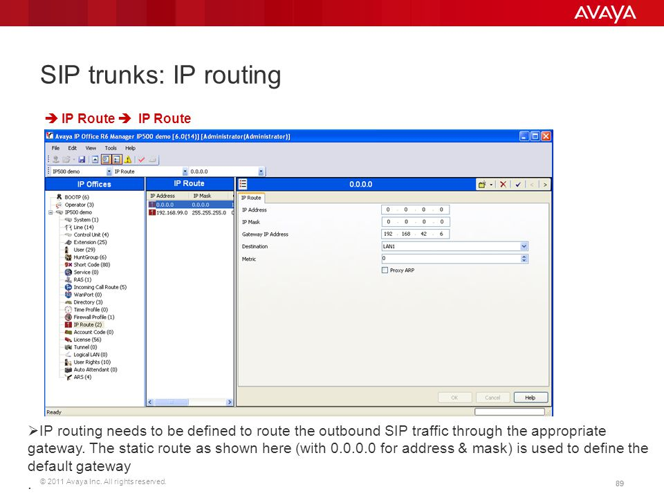 SIP trunks: IP routing  IP Route  IP Route.