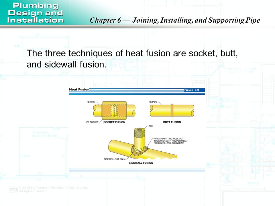 The three techniques of heat fusion are socket, butt, and sidewall fusion.