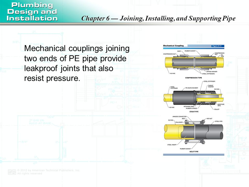 Mechanical couplings joining two ends of PE pipe provide leakproof joints that also resist pressure.