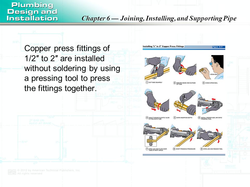 Copper press fittings of 1/2″ to 2″ are installed without soldering by using a pressing tool to press the fittings together.