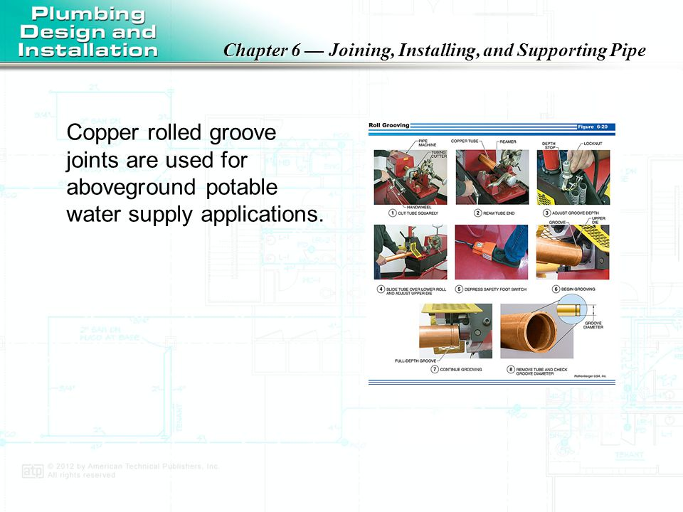 Copper rolled groove joints are used for aboveground potable water supply applications.