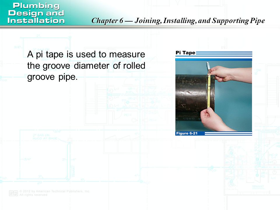 A pi tape is used to measure the groove diameter of rolled groove pipe.