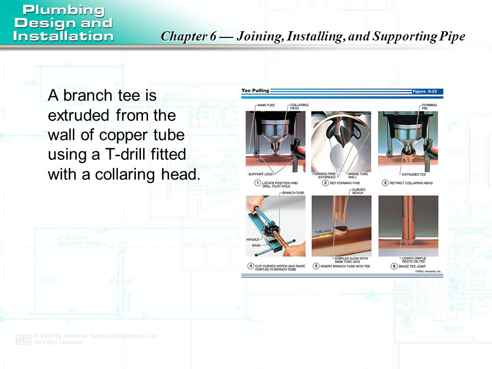 A branch tee is extruded from the wall of copper tube using a T-drill fitted with a collaring head.