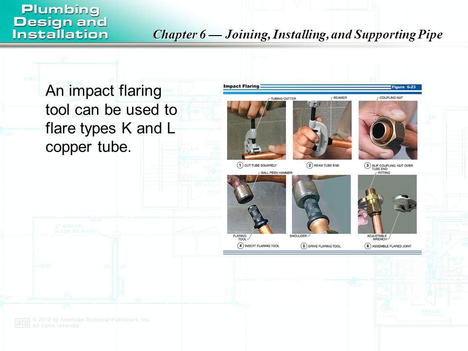 An impact flaring tool can be used to flare types K and L copper tube.