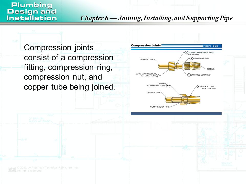 Compression joints consist of a compression fitting, compression ring, compression nut, and copper tube being joined.