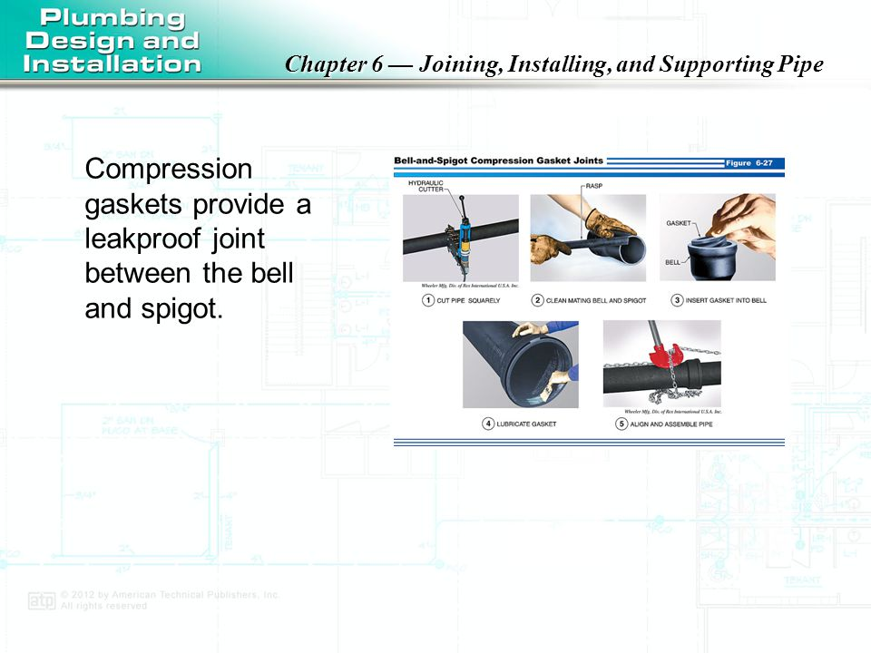 Compression gaskets provide a leakproof joint between the bell and spigot.