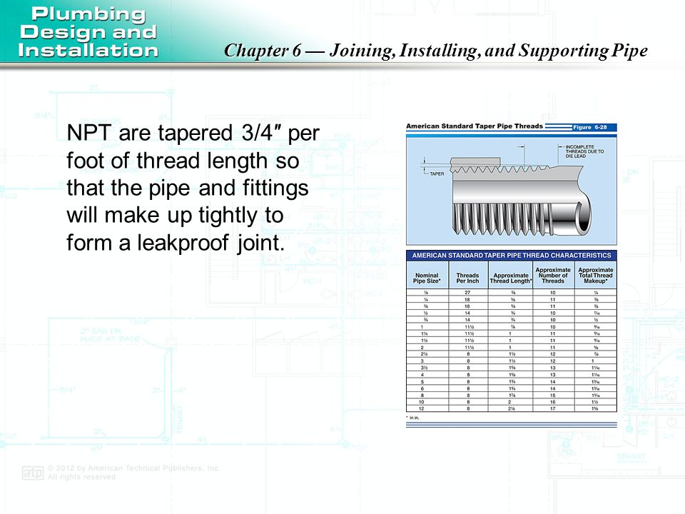 NPT are tapered 3/4″ per foot of thread length so that the pipe and fittings will make up tightly to form a leakproof joint.