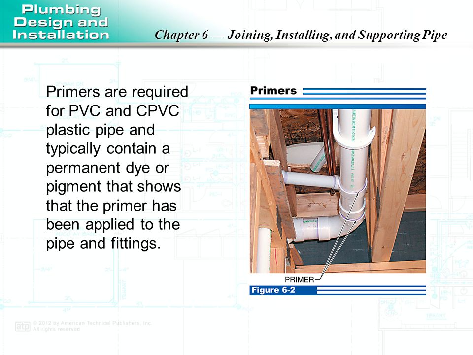 Primers are required for PVC and CPVC plastic pipe and typically contain a permanent dye or pigment that shows that the primer has been applied to the pipe and fittings.