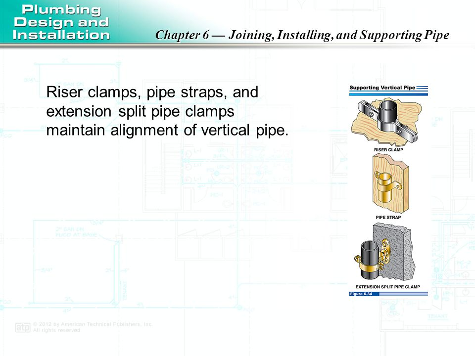 Riser clamps, pipe straps, and extension split pipe clamps maintain alignment of vertical pipe.